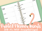 Planner Inserts | 2018 | A5 | WO2P (Week On Two Pages) | Horizontal Layout