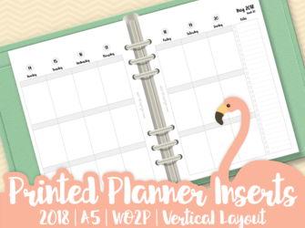 Planner Inserts | 2018 | A5 | WO2P (Week On Two Pages) | Vertical Layout